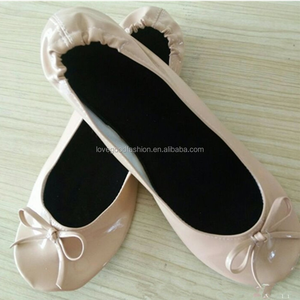 Girls Beige Patent-Leather Foldable Ballet Flats