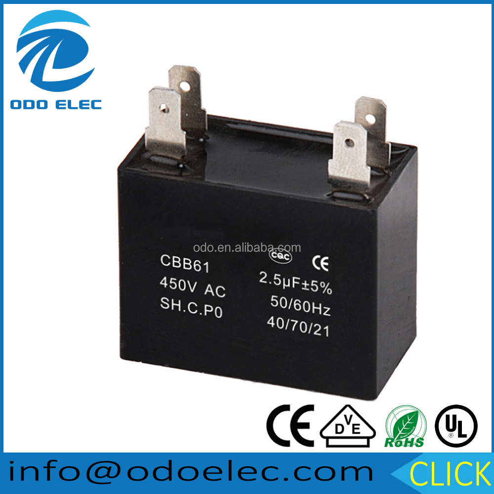 AC Ceiling Fan Capacitor CBB61 250V 450V China Run Starting Motor 2.5 uf Capacitors CBB61