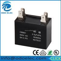 AC Ceiling Fan Capacitor CBB61 250V 450V China Run Starting Motor 2.5 uf Capacitors CBB61