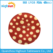Restaurant use food safety polka dot round shape wholesale plastic food serving plate