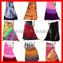 Extra Long/Tall Colorful Tie-Dye Dyed Broomstick Hippie Gypsy Boho Skirt