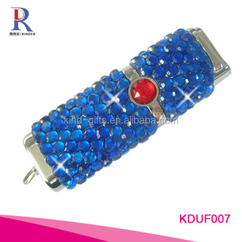bling blue sapphire usb flash drive disk
