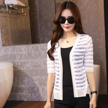 Hot selling loose casual girls fashion tops smart long sleeve v-neck joker short-sleeved chiffon knitwear for ladies
