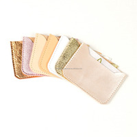 Leather Card Case Credit Card Case Metallic Leather Wallet Credit Card Holder
