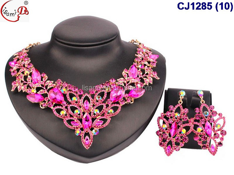 CJ1285 Crystal rhinestone fashion&costume jewelry sets nice beads for USA ladies wedidding party