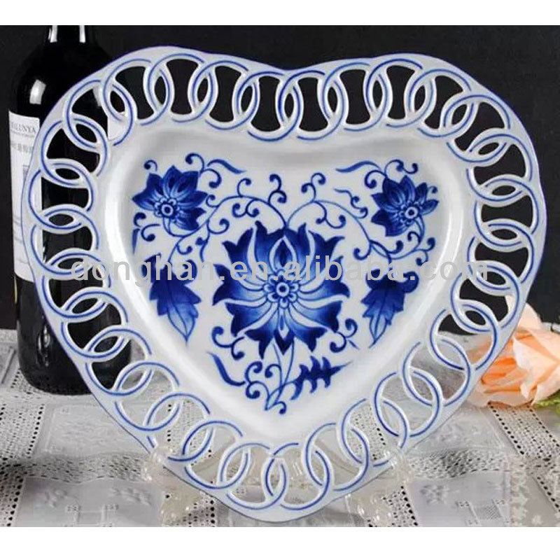 Antique blue and white porcelain plate with full elegant printing,