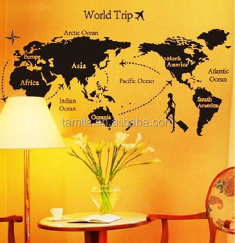 promotional kids removable world map wall sticker