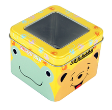 Square shape watch tin box with window lid