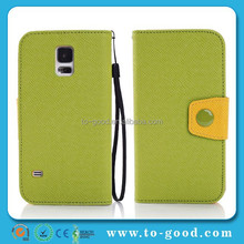 Promotional 100% PU Leather Wallet Fancy Cell Phone Cover Case For Samsung Galaxy S5 (Green)
