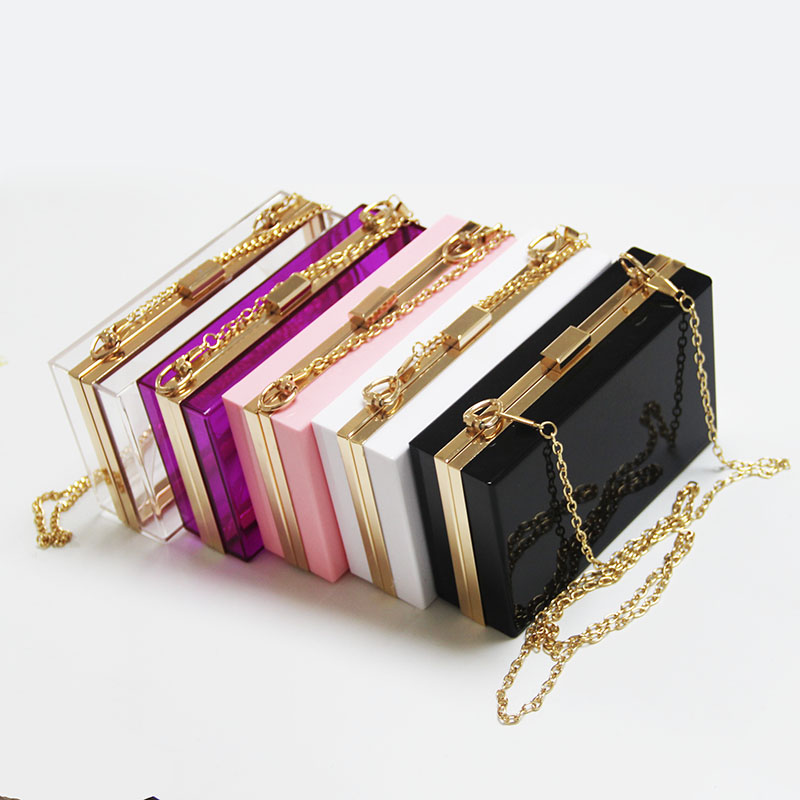 2019 Original Custom Acrylic Women Party Evening Square Bags Fashion Gold Chain Crystal Boxed Ladies Wedding <strong>Designer</strong> Handbags