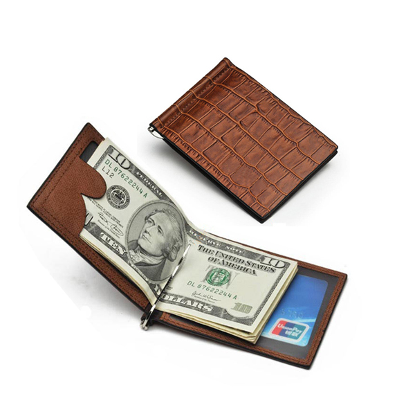 2016 hot sale new gift fashion crocodile leather money clip for men