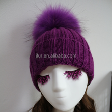 Adult Animal Winter Hats With Fur Balls Raccoon Pompoms Girl Bonnet Purple Hats