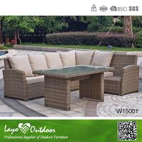 ISO9001 certification space saving popular outdoor furniture synthetic grey corner sofa