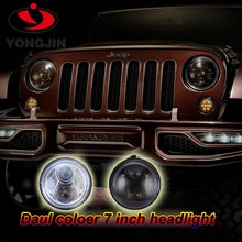 Halo round led headlight 7inch Low High Beam LED for jeep wrangler head light with DRL halo lights