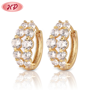 Wholesale Newest design Fashion round 18K gold plated earrings designs for girls
