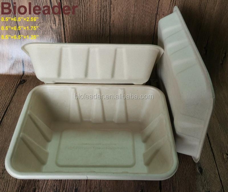 Biodégradables Canne À Sucre Bagasse Alimentaire Emballage Plateaux