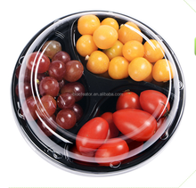 3 compartments fancy disposable salad bowl plastic