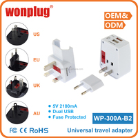 2016 hot selling Wonplug Patent Worldwide Universal Travel Adapter With USB charger port with CE ROHS certificate