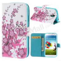 Plum Blossom Wallet Leather Stand Case for Samsung Galaxy S4 I9500 I9502 I9505