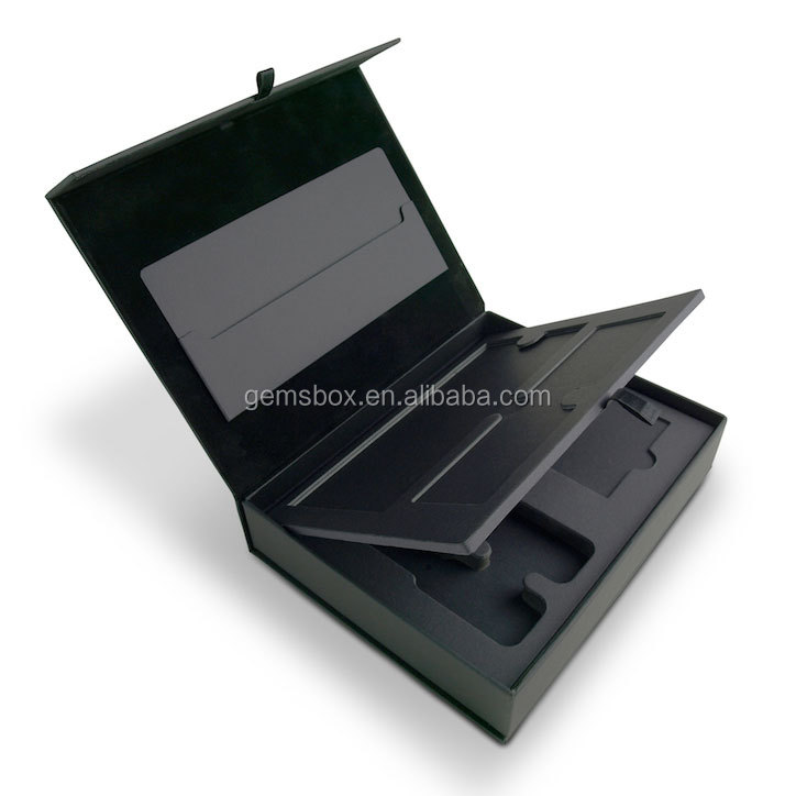 Cantilevered Pivoting Tray black Magnet Folder Presentation <strong>Box</strong>