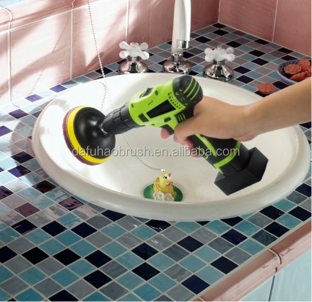 Drill brush Power Scrubber/ Scrub Pad Bathroom Cleaning Kit from big factory