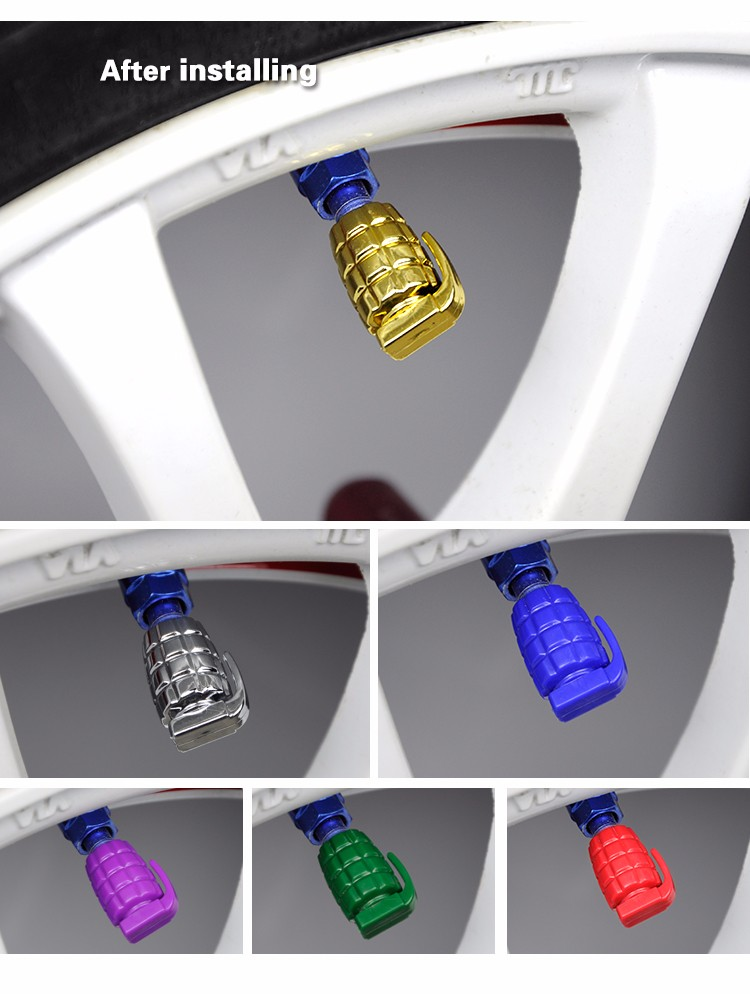BYC Wholesale Gold Hand Grenade Tire Valve Caps Auto Parts