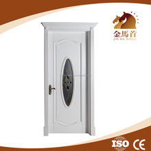 Wholesale price Living room,office, white oak wooden door with clear tempered glass