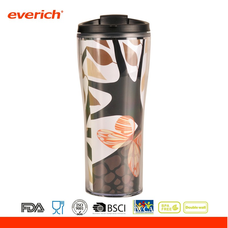 Everich 18oz Double Wall Clear Changeable Paper Insert Plastic Travel Mug