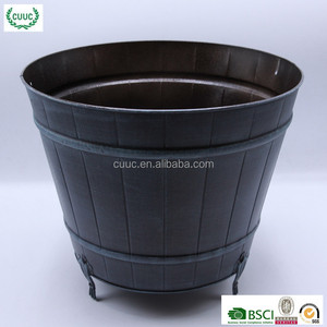 Home garden polished metal flower large planter pot