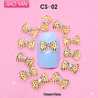 wholesale 3d mini metal bows nail rhinestone bows for nail art #1107