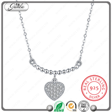 high quality heart shaped pendant necklace white zircon necklace fashion 925 sterling silver jewelry