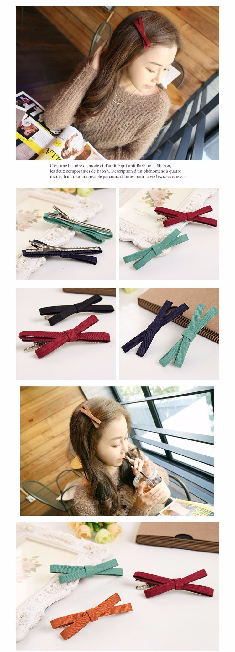 Candy Colors Sweet Lady Cloth Bows Hair Clip Barrettes for Girls Headwear Hair Accessories for Women