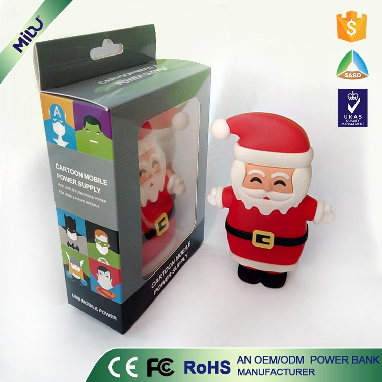 Factory Supply Within 12months CE ODM OEM PVC Material Santa Claus Micro USB Socket power bank camera