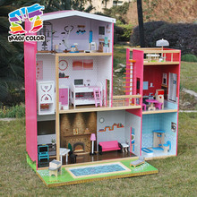 2016 wholesale girls uptown dollhouse, modern size wooden uptown dollhouse, wood uptown dollhouse with furniture W06A152