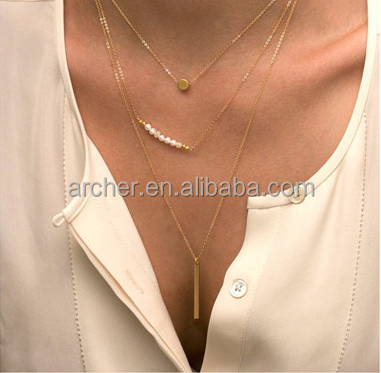 Wholesale market fashion jewelry necklaces,filled gold chain necklaces ,retail cheap gold jewelry necklaces
