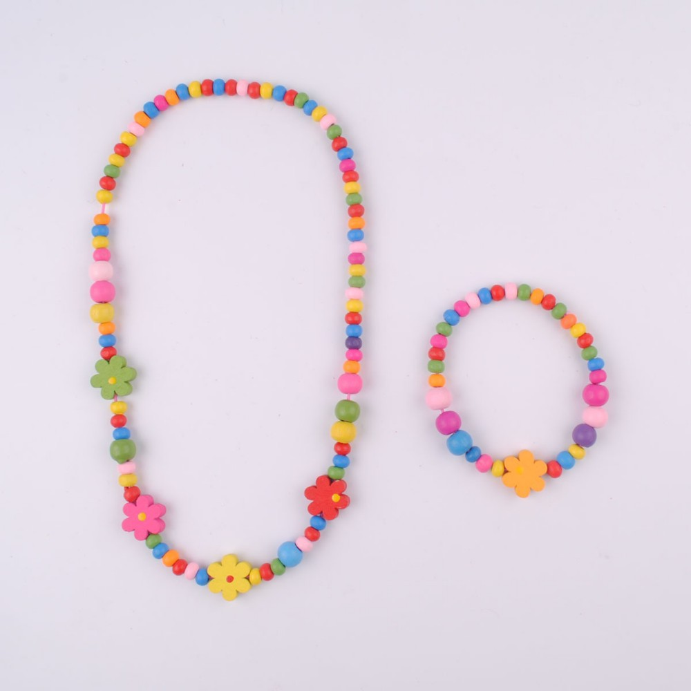 2015 new style wholesale fashion colorful flower beads necklace for kids