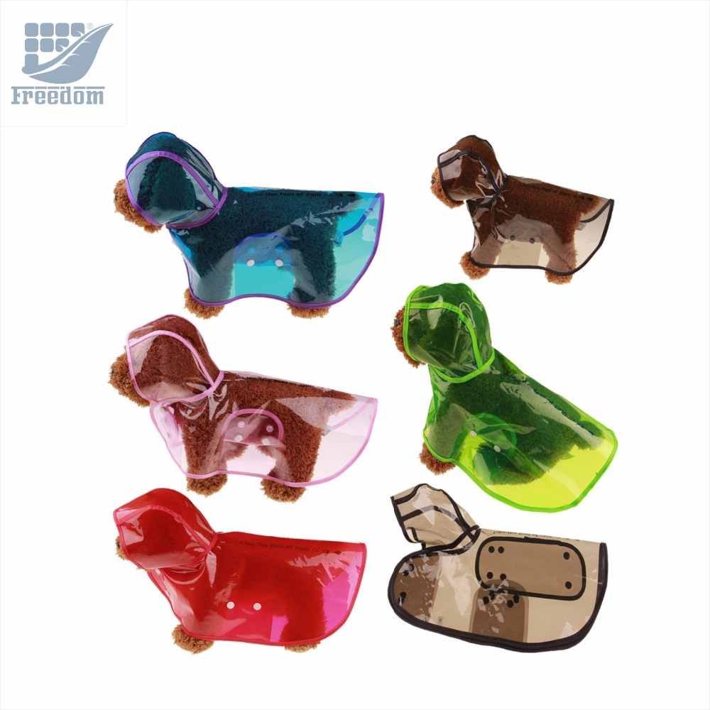 PVC Six Colors Pet Raincoats Transparent Puppy Dog Raincoats