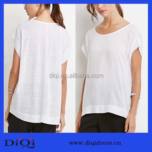 Ladies casual blank bamboo texture loose brand linen shirt for wholesale
