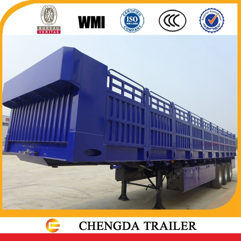 80 tons hot sale Chinese side wall cargo flatbed utility trailers with locks