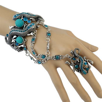 Foreign Trade New Bangle With Ring Turquoise Gecko Bangles Wholesale