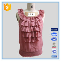 2016 Latest long tops designs girls Fashion Ruffle & Lace Neck Design Blouse Tops