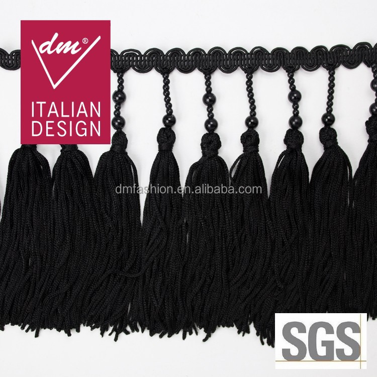 2015 New product black rayon tassel fringe trim for curtain