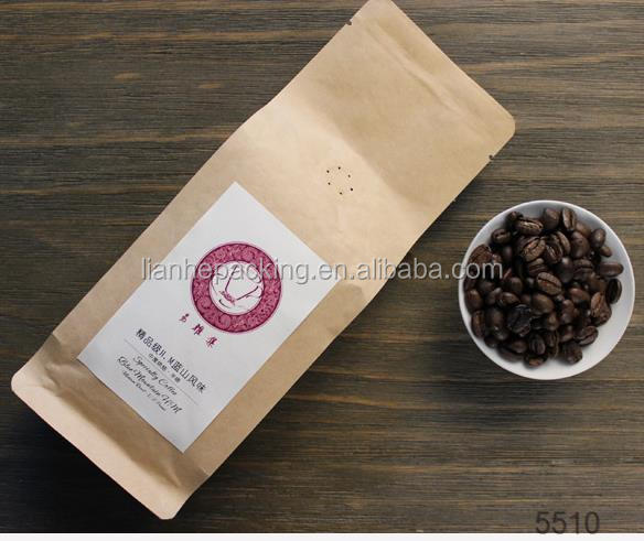 Kraft Paper Packaging Standing Side Gusset Quad Seal Flat Block Bottom Coffee Bags with Valve