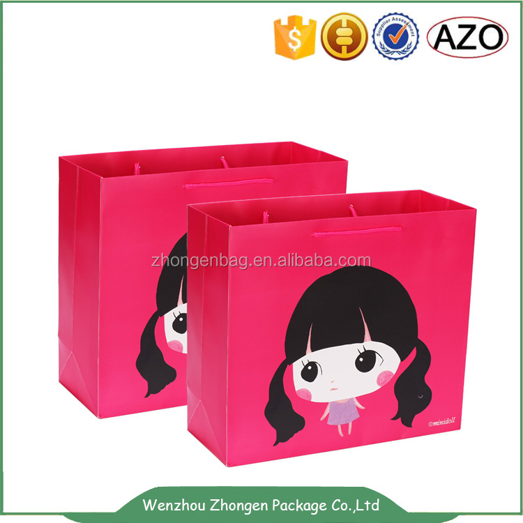 Full printing lovely girl hand paper bags,cute shopping paper bag,carry paper bag