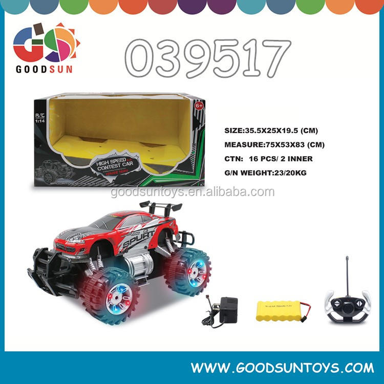 1:14 Scale 4 functions car rechargeable rc car remote control high speed car in window box with certificate china toy