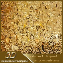 Inox Fireproof Kitchen 3D Texture Interior Wall Decorative Panel