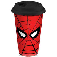 Spiderman Double Wall Ceramic Travel Mug with Silicone Lid 12-Ounces