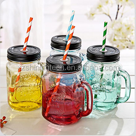 8oz 18oz 500ml mini storage bottles cold drinking ball glass mason jar with metal lids and straw