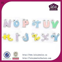 stainless steel floating colorful letter charms