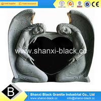 Absoute Black Granite Double Angel Tombstone